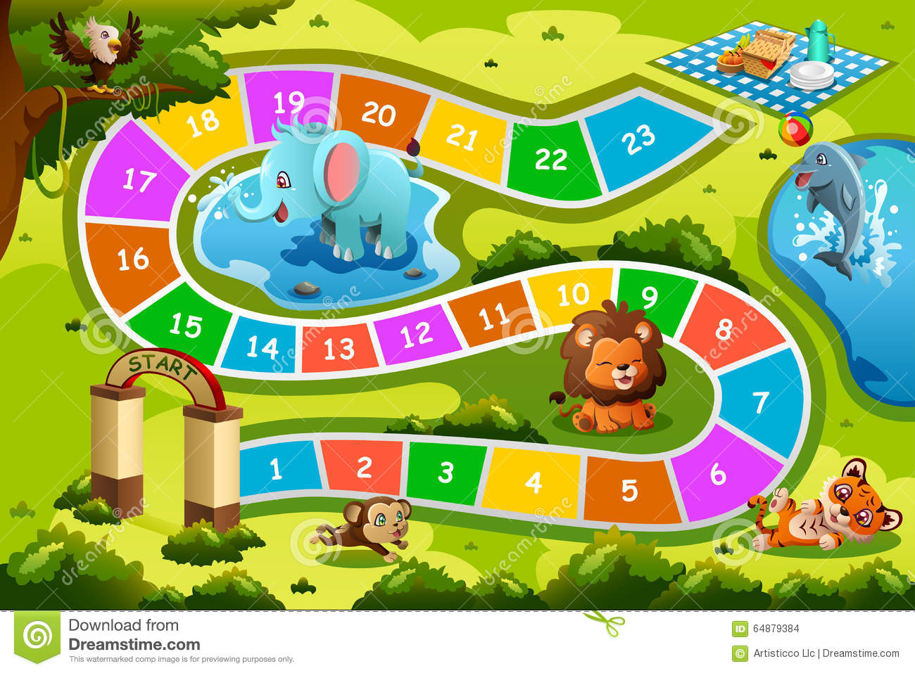 Board Game In Animal Theme Stock Vector Image 64879384