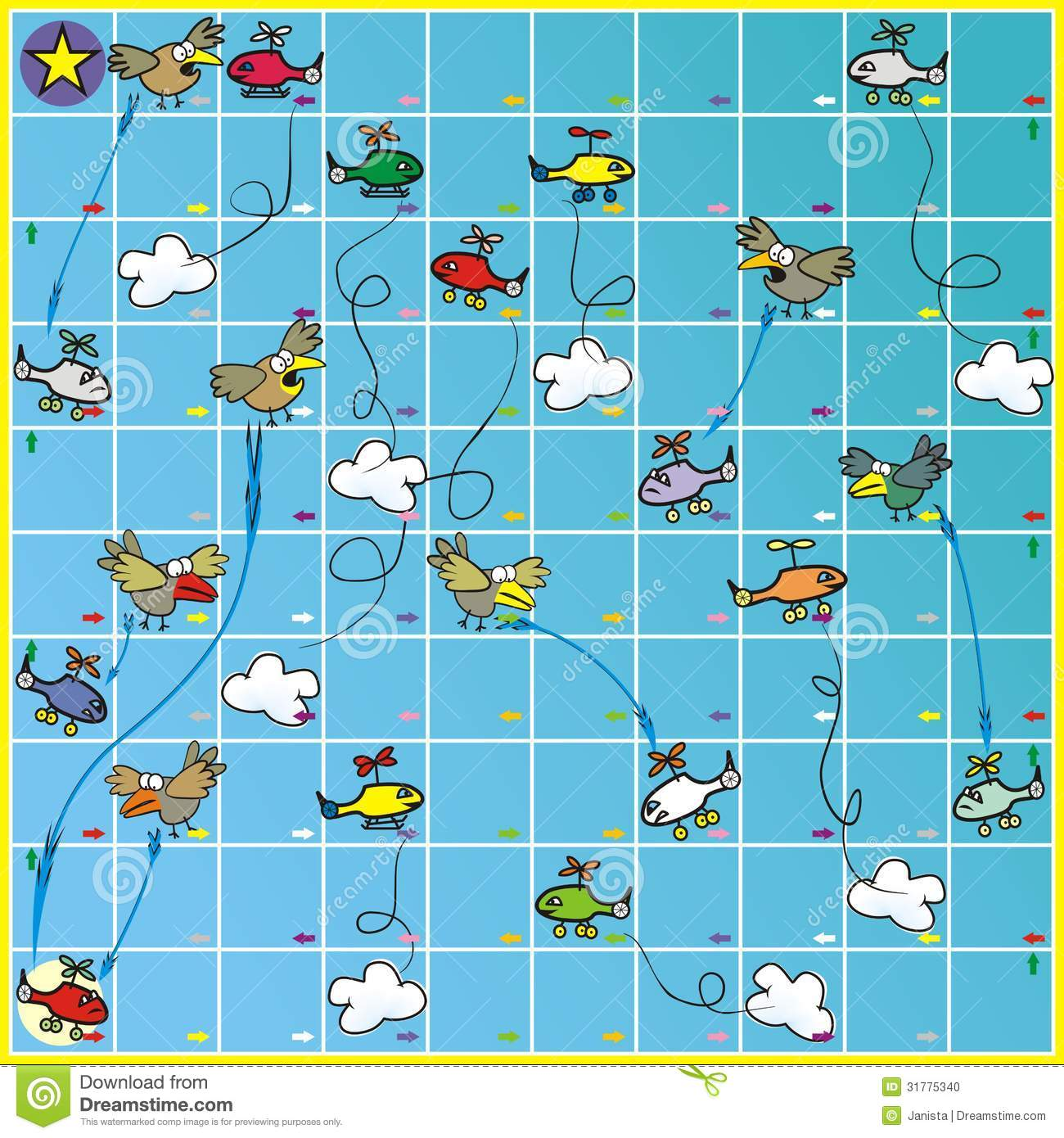 Board Game Birds And Planes Stock Illustration