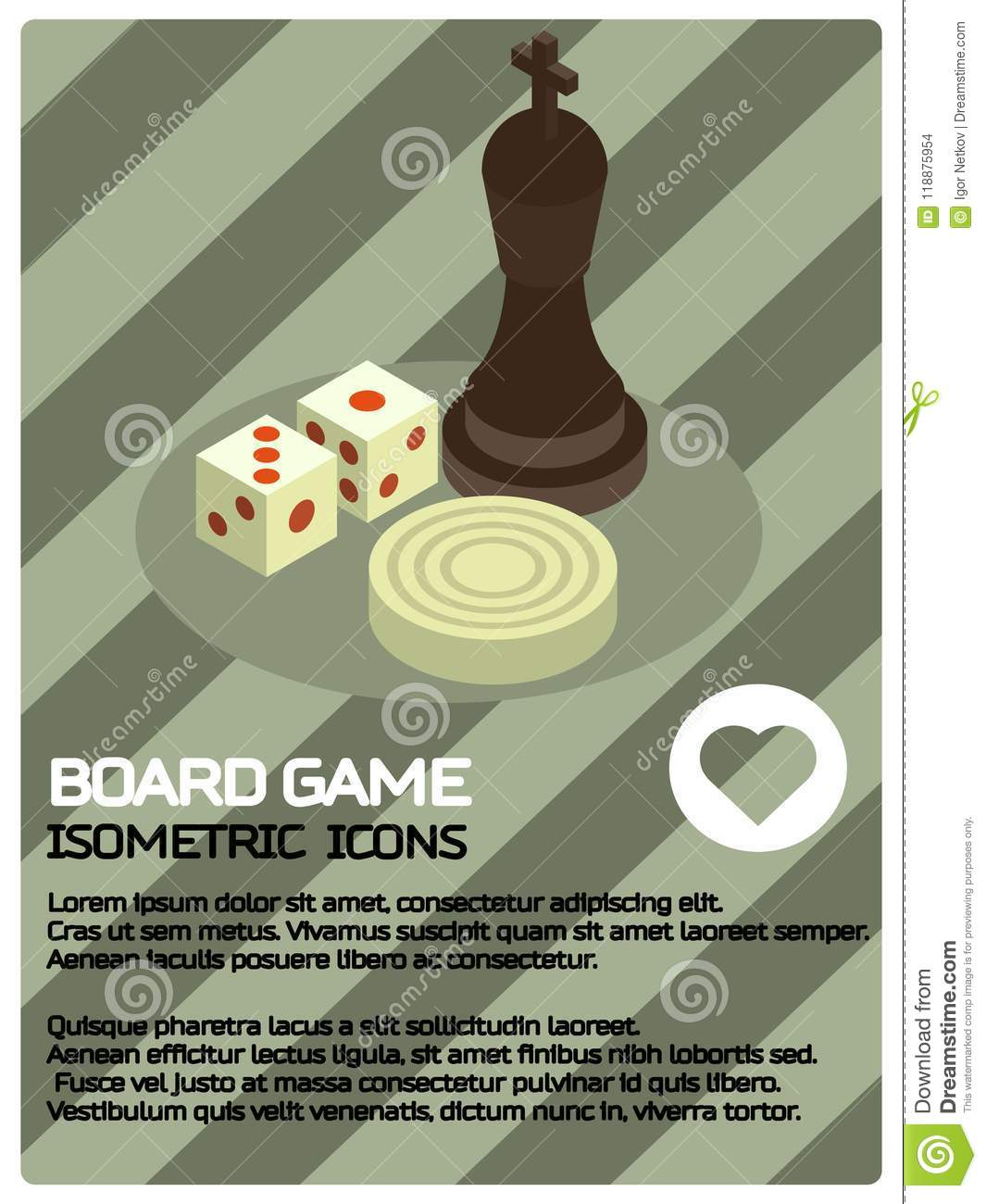 board game color isometric poster stock vector illustration of