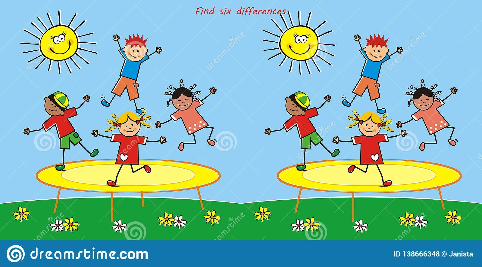 Find Board board game, find six differences, jumping kids on trampoline