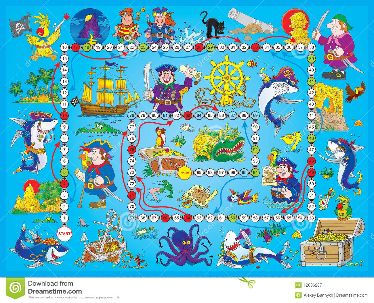 Royalty Free Stock Photography Board Game Pirates Image12606207 on Kindergarten Worksheet With U