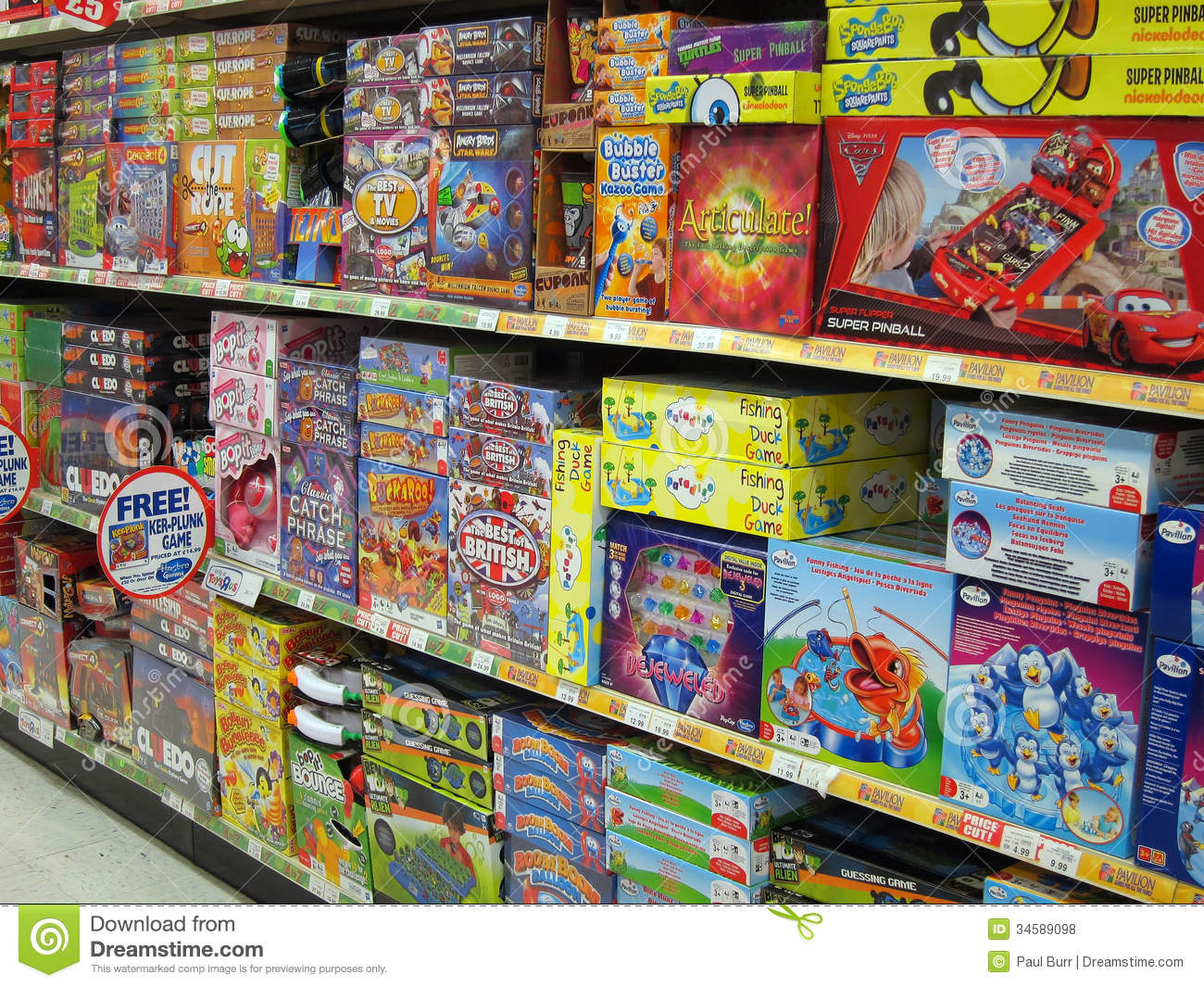 Toys R Us Games : Board games in a toy store editorial stock photo image