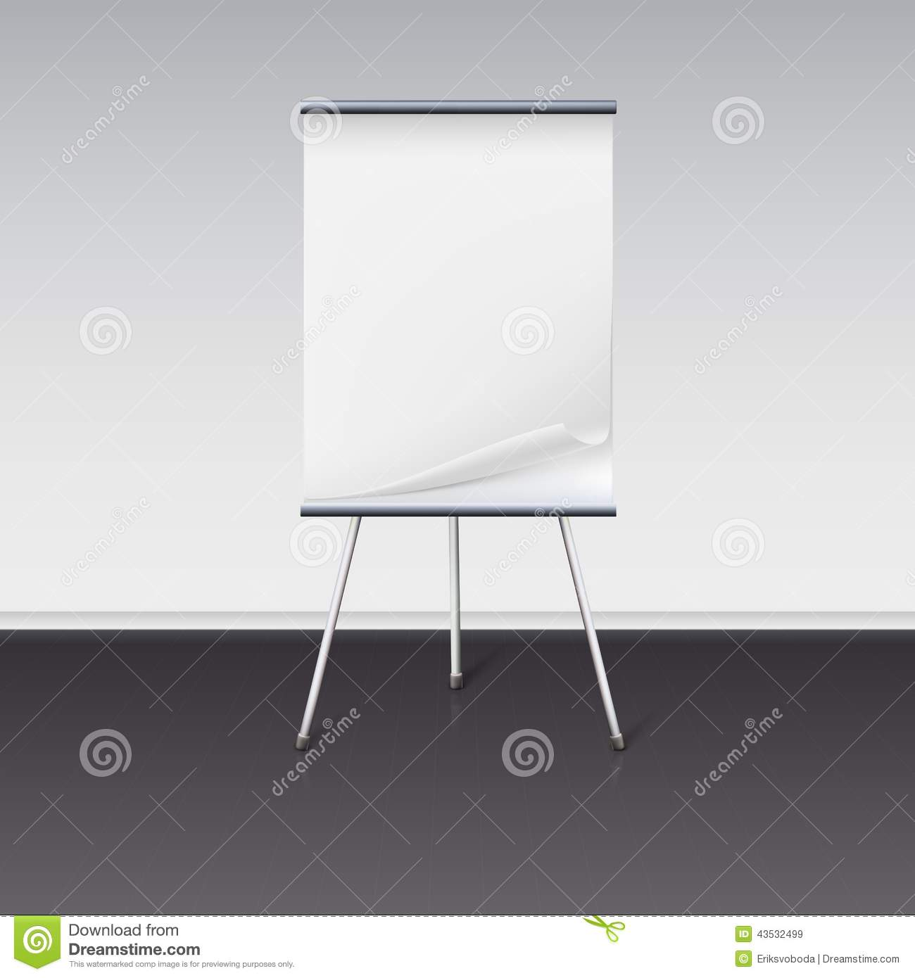Board For Presentations With Sheet Of Paper Stand Stock Vector - Image ...