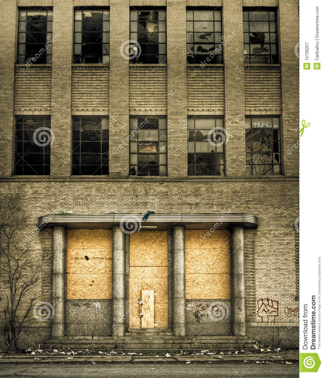 Boarded Up Abandoned Building Entrance Royalty Free Stock