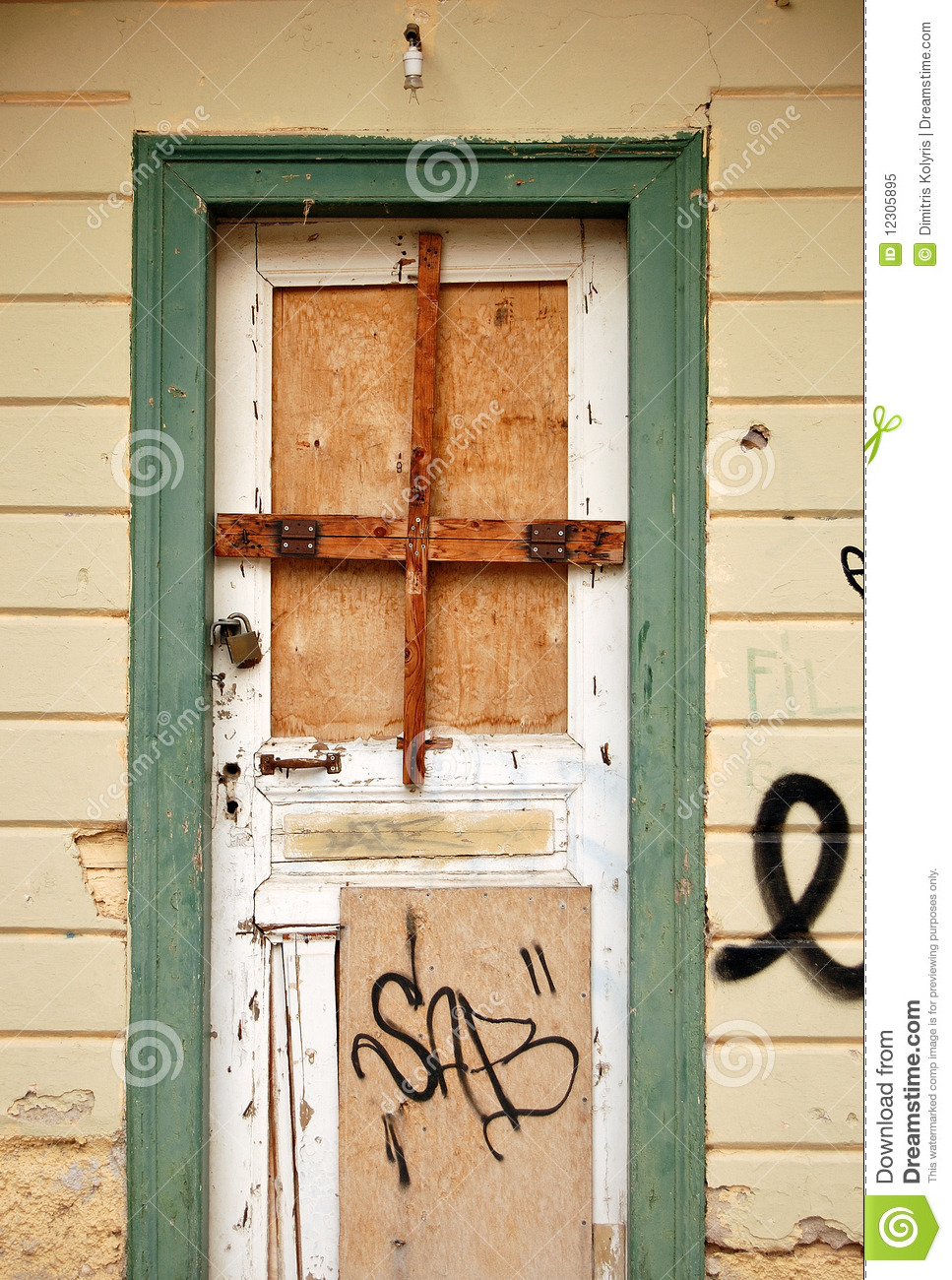 Boarded Up Door Royalty Free Stock Photo Image 12305895