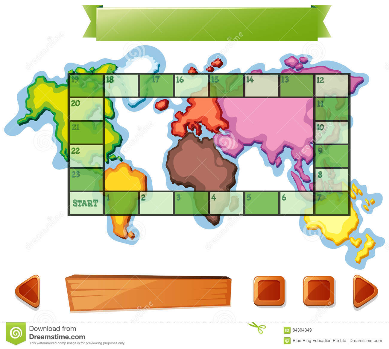 boardgame template with worldmap background stock vector