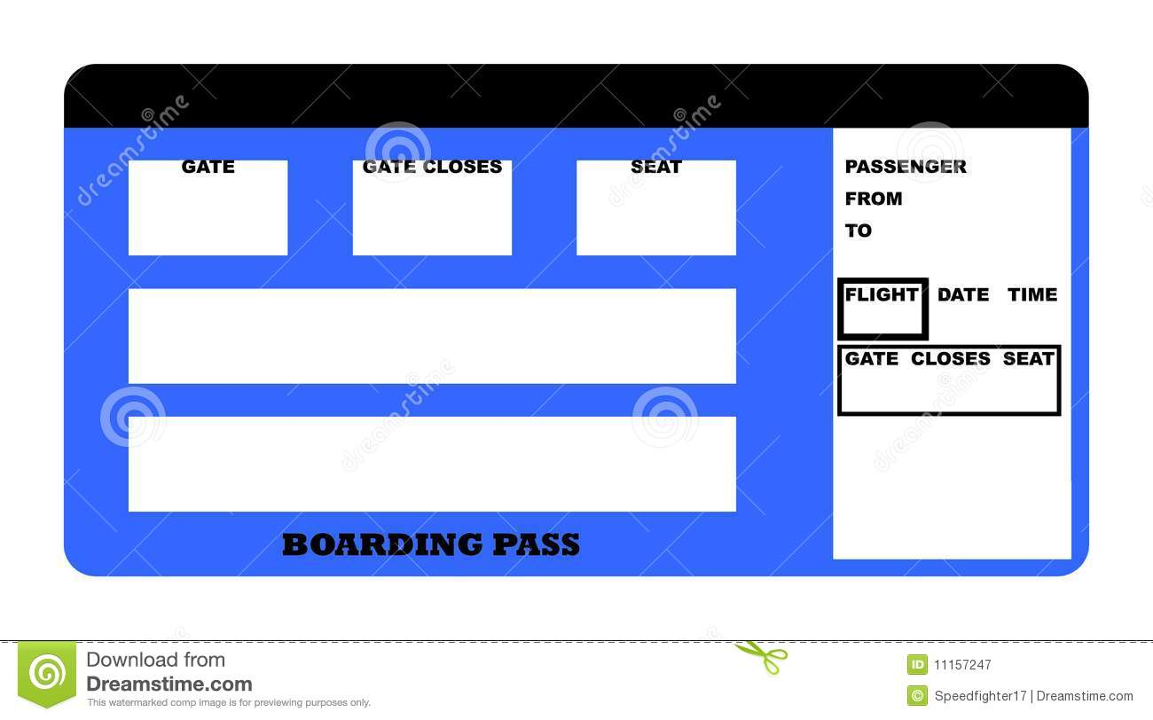 Illustration Of Blank Airline Boarding Pass Ticket Isolated On White Background
