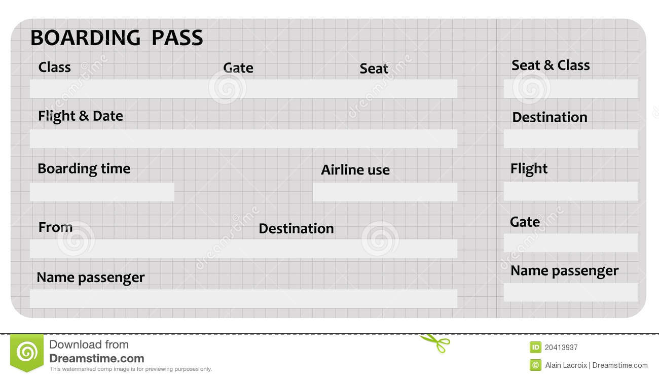 Pin Blank Boarding Pass Template Great For Lessons