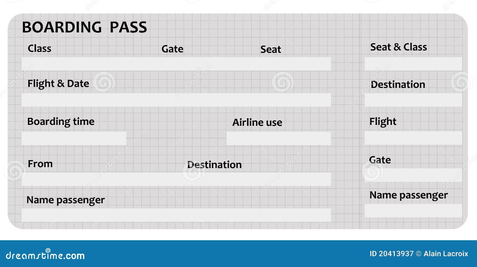 Boarding pass stock illustration. Illustration of date - 20413937