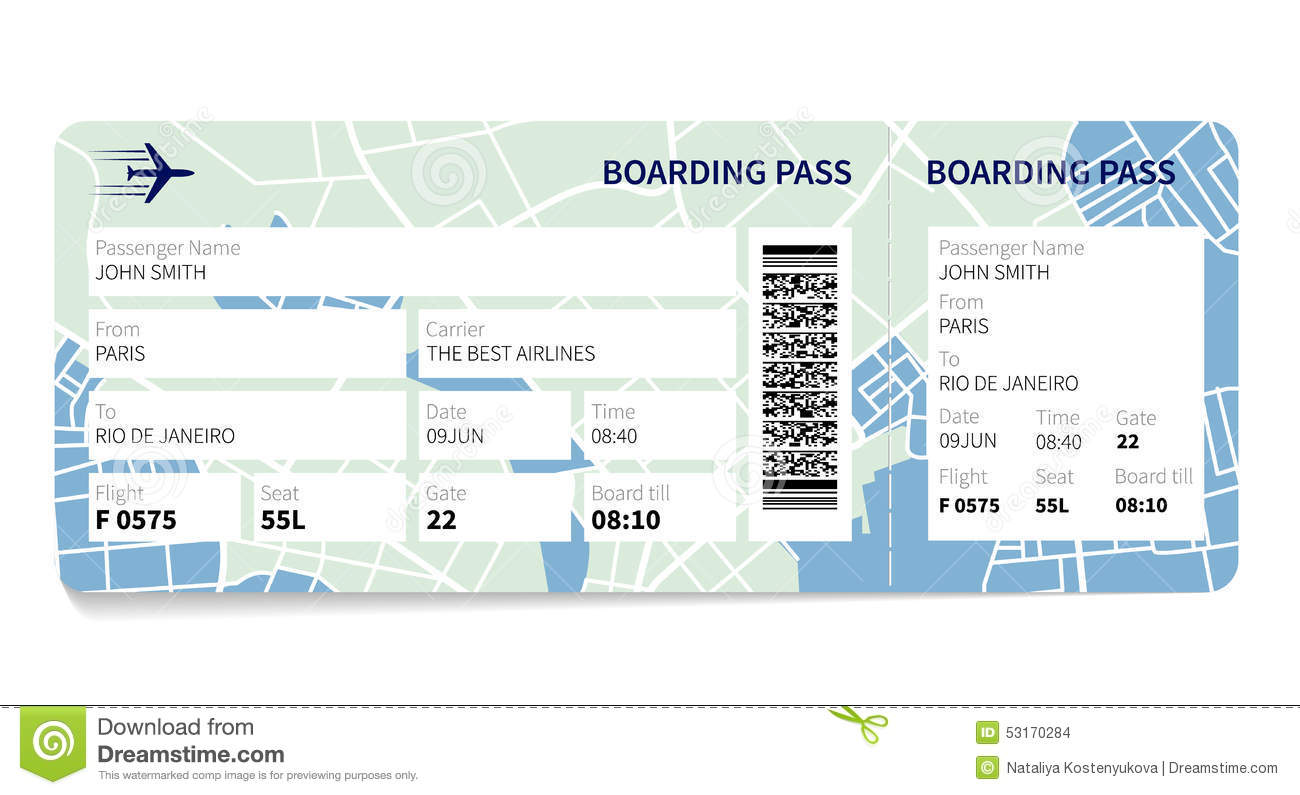 Airline boarding pass ticket with a map as a background. Vector ...