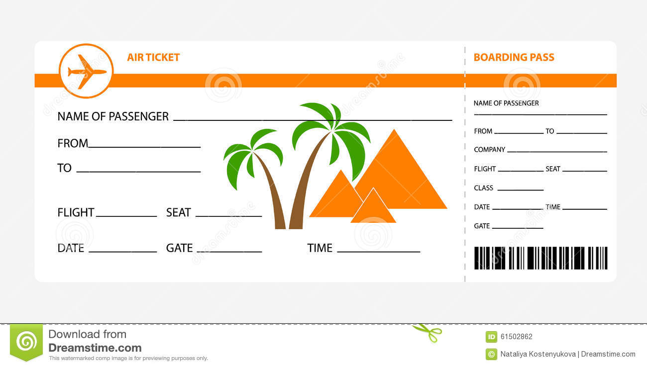 Boarding pass egypt stock vector Illustration of vector 61502862