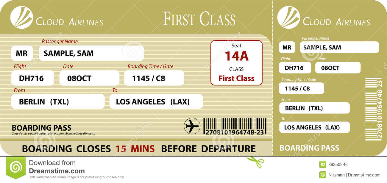 Boarding Pass First Class Stock Vector Image 39250946
