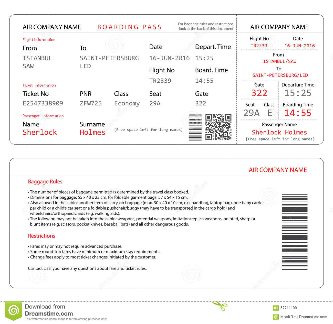 Boarding Pass. Royalty Free Vector  Free Pass Template