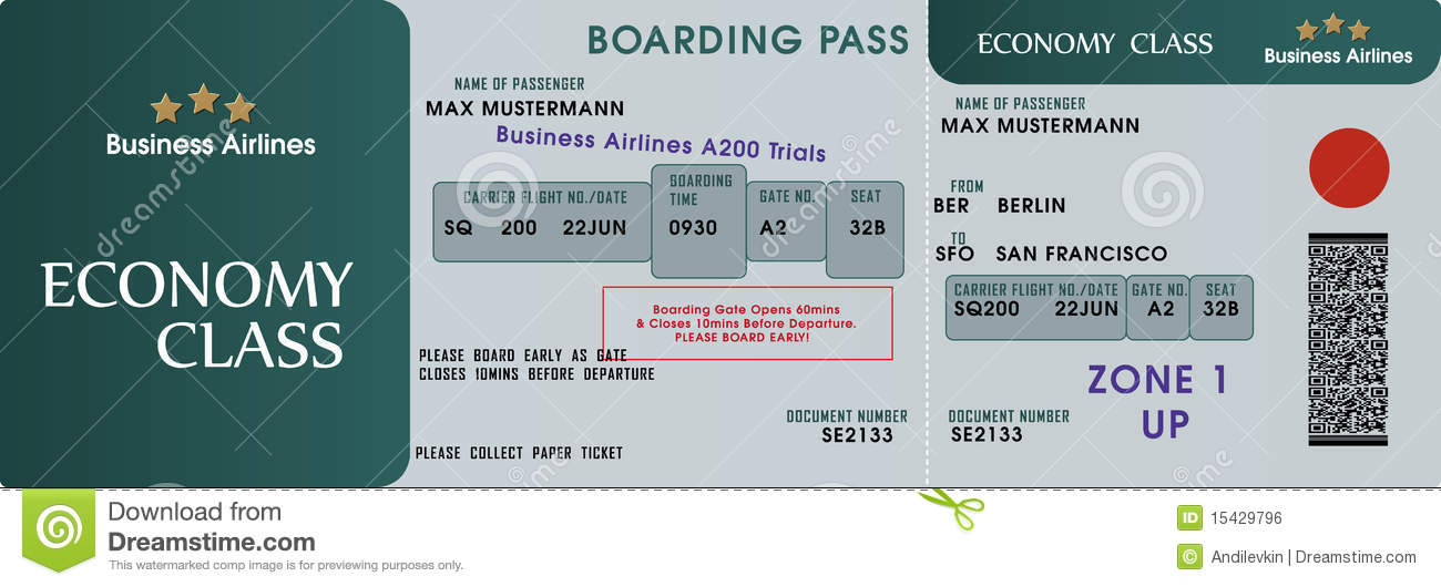 Boarding pass template stock vector illustration of stub for Fake boarding pass template