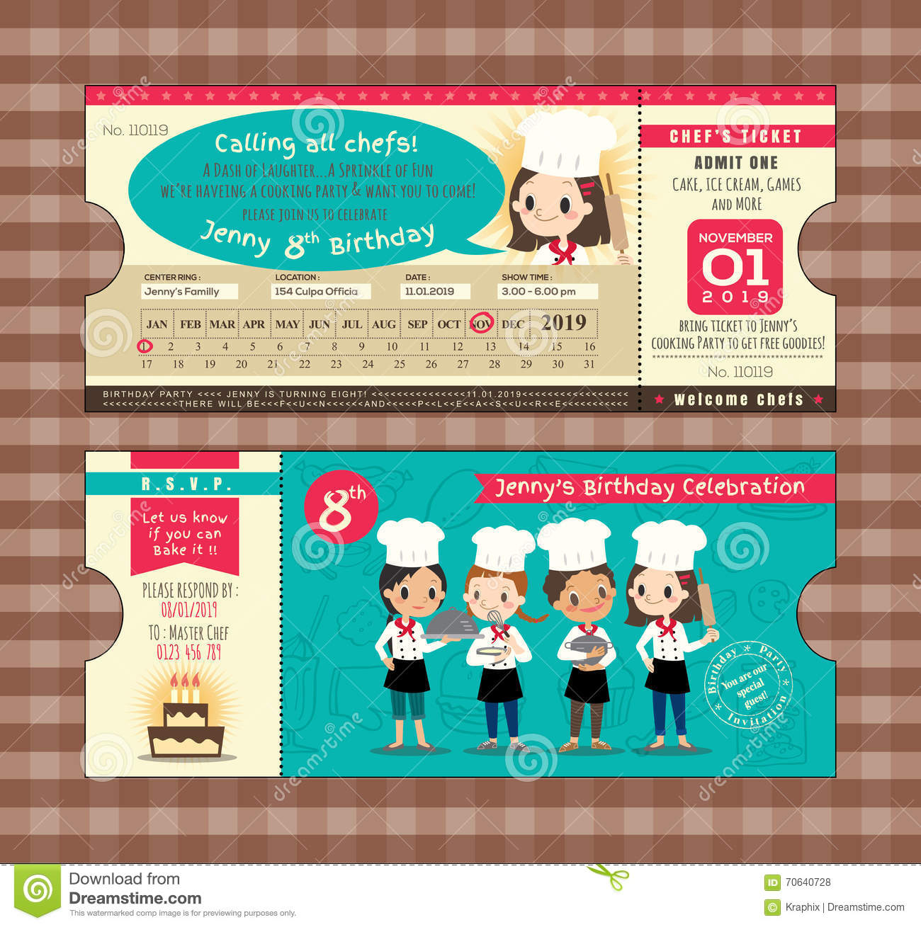 Boarding Pass Ticket Birthday Card Template With Chefs Cooking