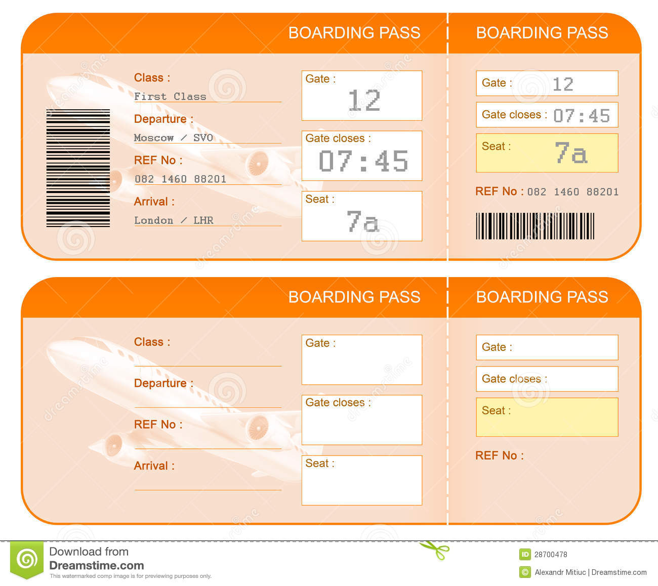 Boarding Pass Ticket Concept. Both Sides. Isolated