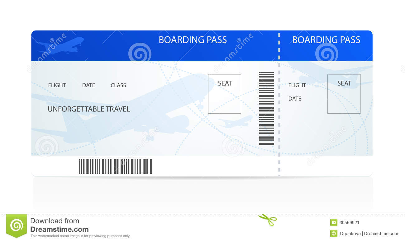 Boarding Pass ticket With Plane airplane Image Image – Boarding Pass Template