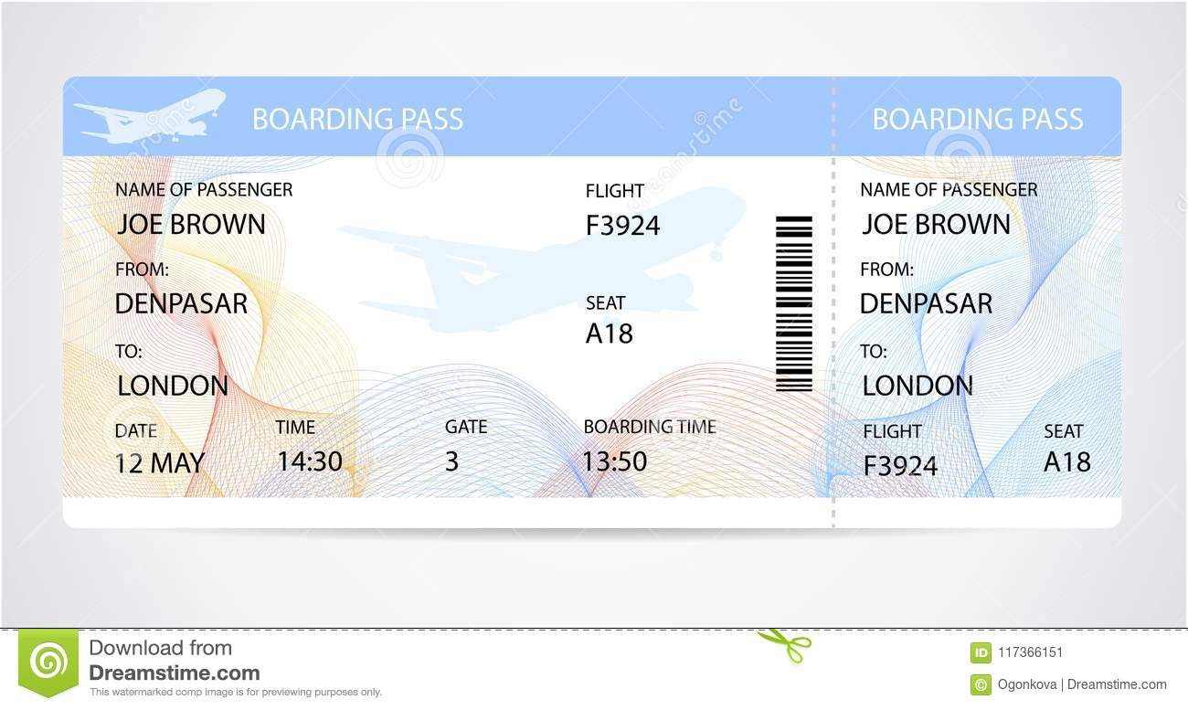 boarding pass ticket traveler check template with aircraft airplane