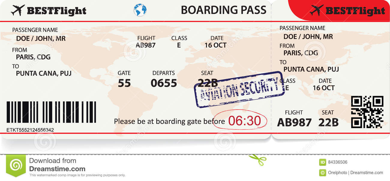 boarding pass ticket for traveling by plane  stock vector