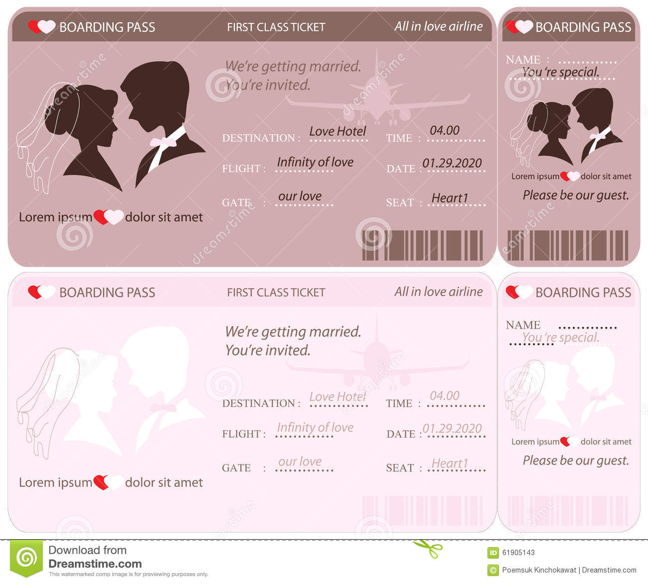 Boarding Pass Ticket Wedding Invitation Template. Stock Vector    Illustration Of Invite, Heart .  Plane Ticket Invitation Template