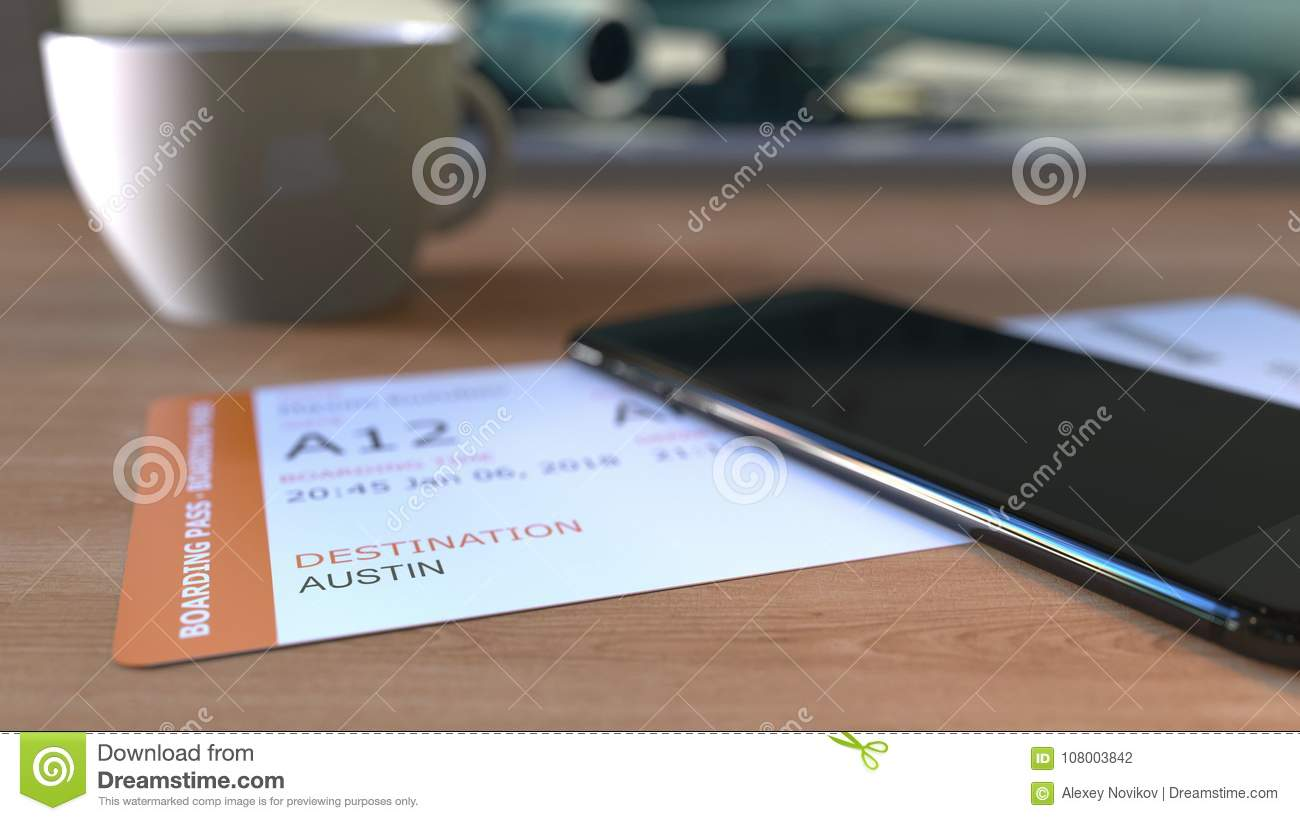 Boarding pass to Austin and smartphone on the table in airport while travelling to the United States. 3D rendering