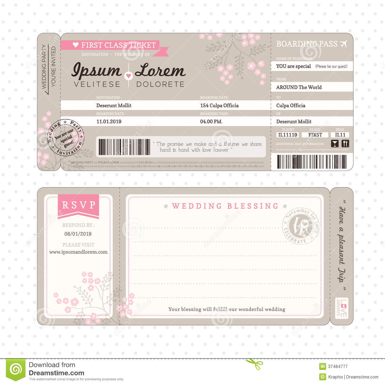 Boarding Pass Wedding Invitation Template Stock Vector
