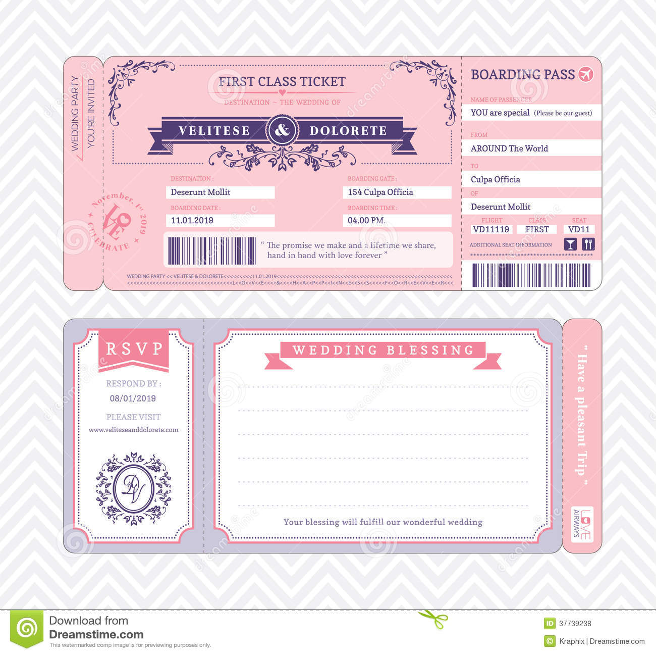 Boarding Pass Wedding Invitation Template  Printable Blank Tickets