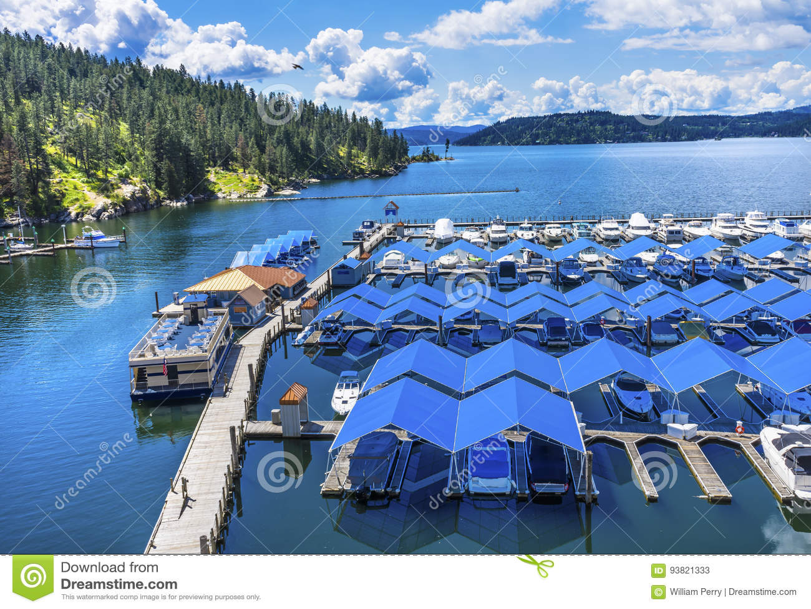 Boardwalk Marina Piers Boats Reflection Lake Coeur d`Alene Idaho