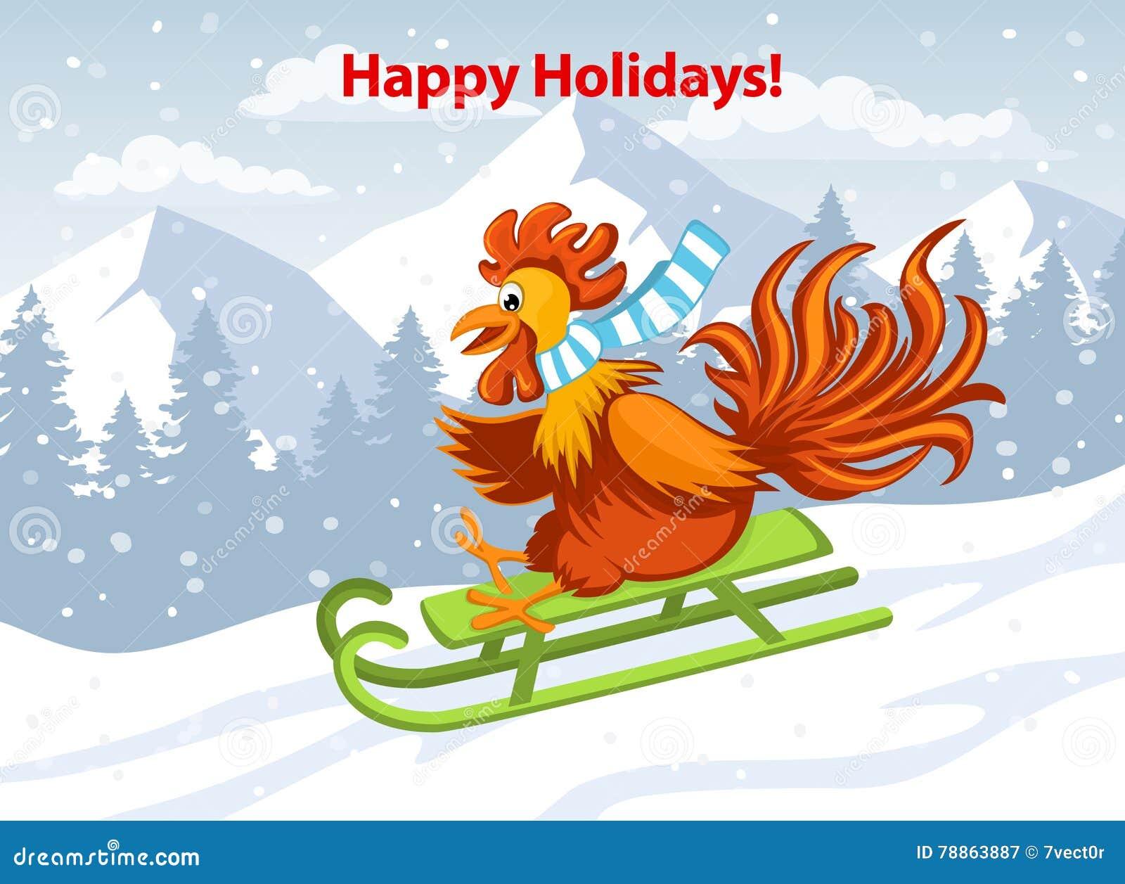 Boas festas, Feliz Natal e cartão 2017 do ano novo feliz com o galo engraçado bonito no trenó em montanhas da neve