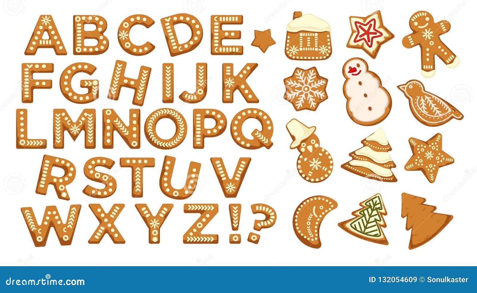 Boas festas, o ABC do Natal rotula a fonte, vetor do projeto gráfico