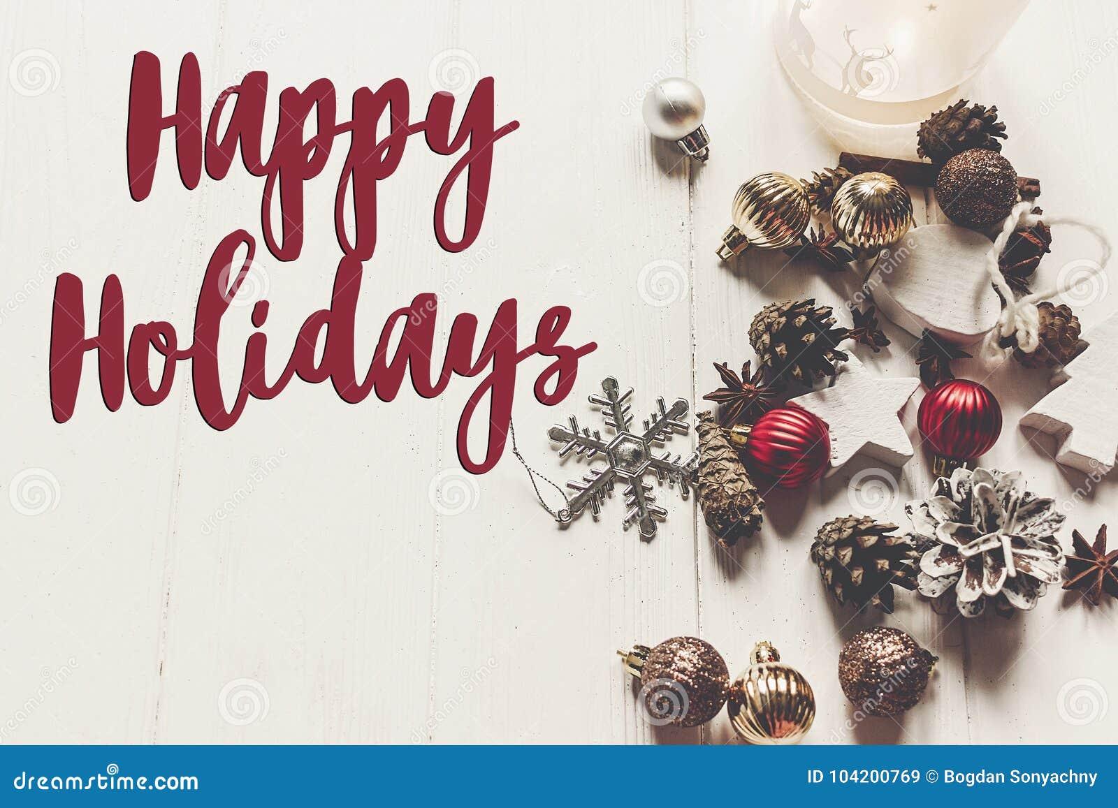 Boas festas texto, sinal sazonal do cartão de cumprimentos Christm alegre