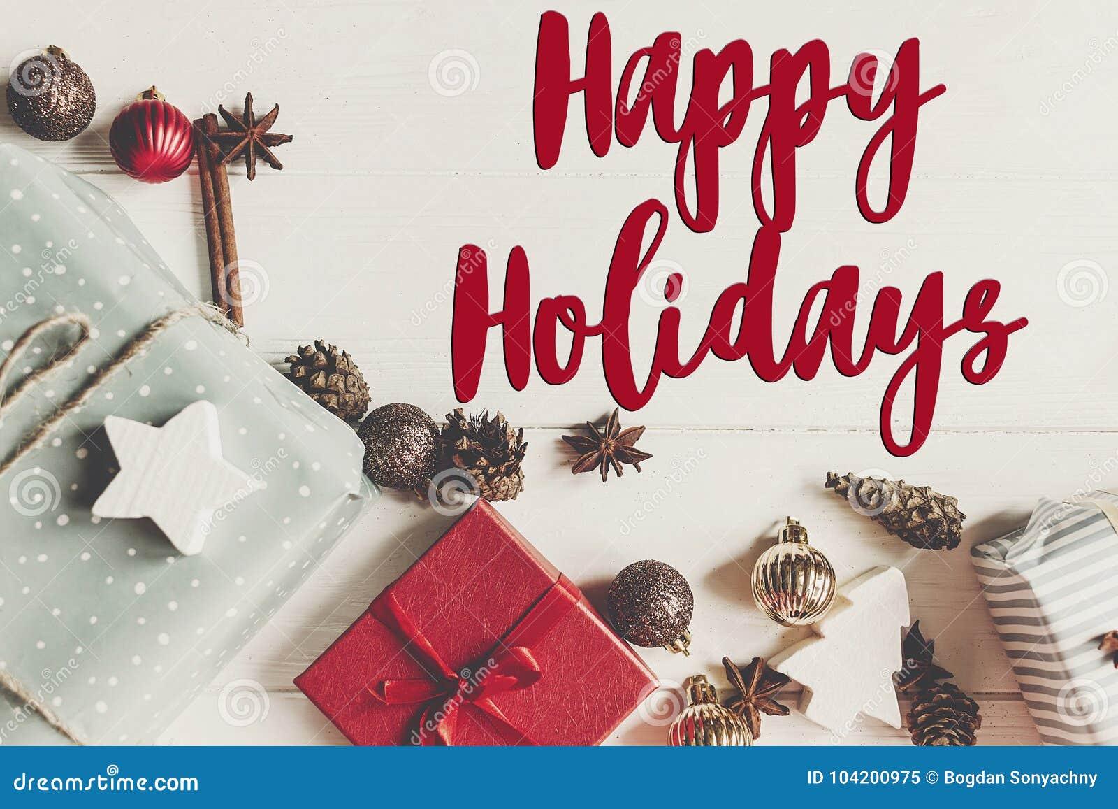 Boas festas texto, sinal sazonal do cartão de cumprimentos fla do Natal