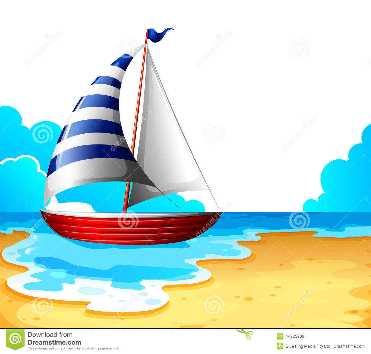 Sea Scene With Boat clip art (103481) Free SVG Download ...  Beach With Sailboat Clipart Cartoons