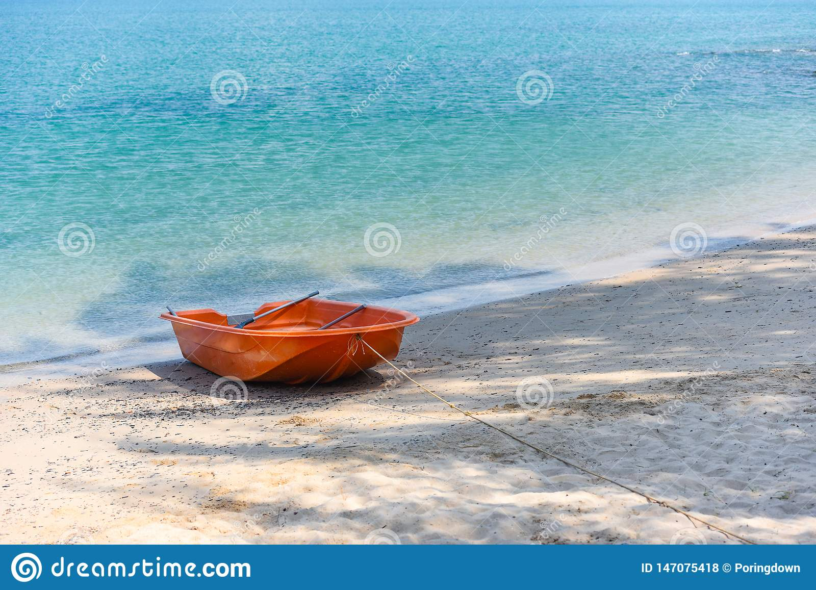 boat on beach summer background sea sandy beautiful of blue ocean