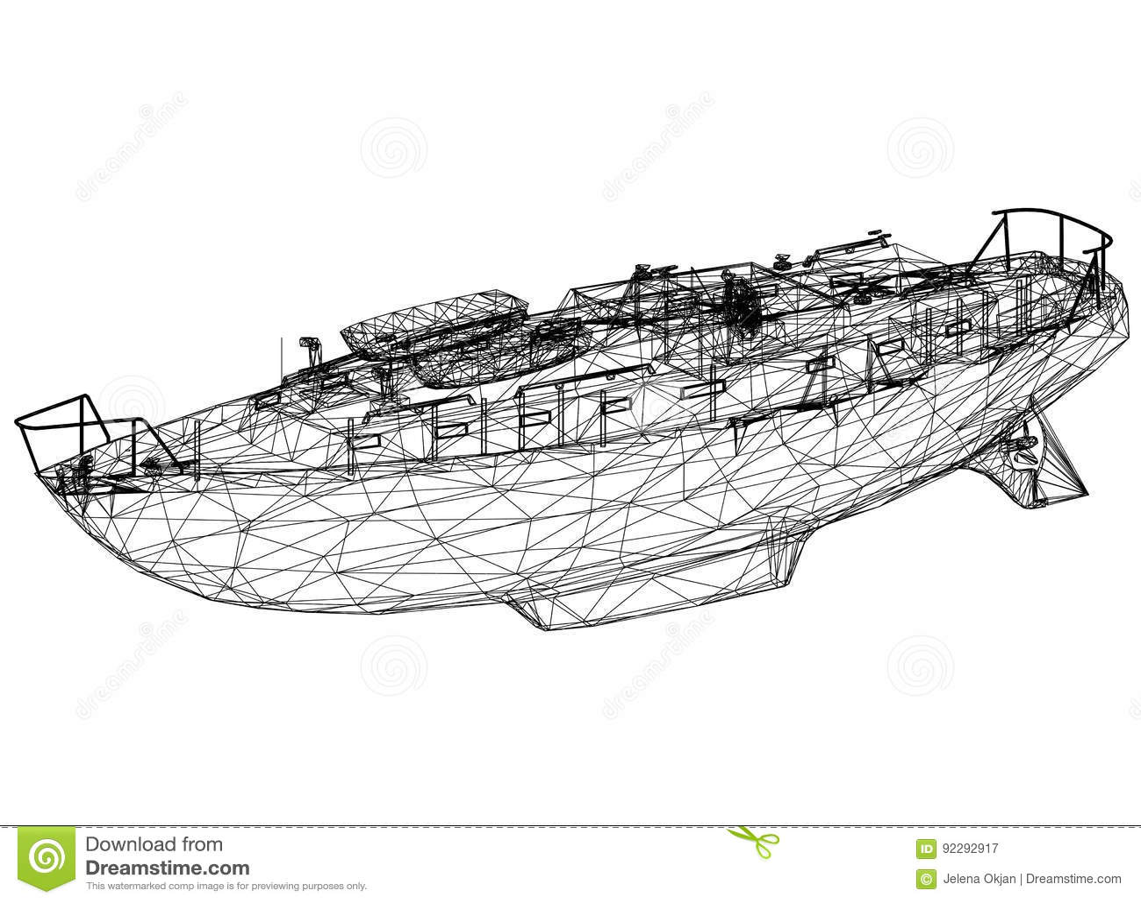 Boat blueprint – 3D perspective