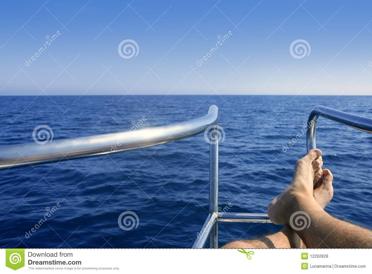 Boat Bow With Male Man Feet Relaxed Royalty Free Stock Photos - Image ...
