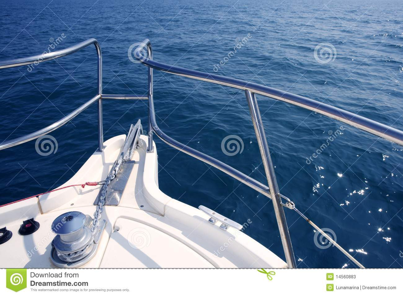 Boat Bow Sailing Sea With Anchor Chain Winch Stock Image ...