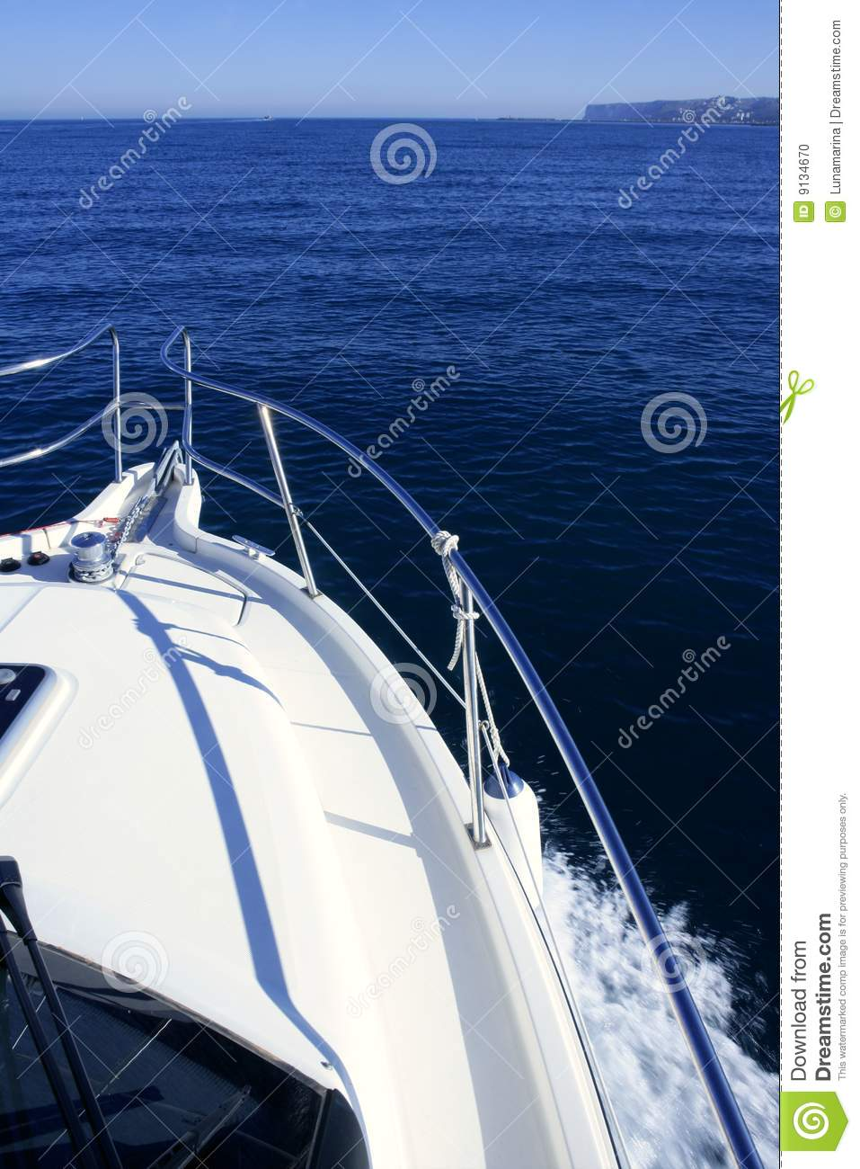 Boat bow yatch vacation on the blue ocean stock photo for Blue sea motor inn