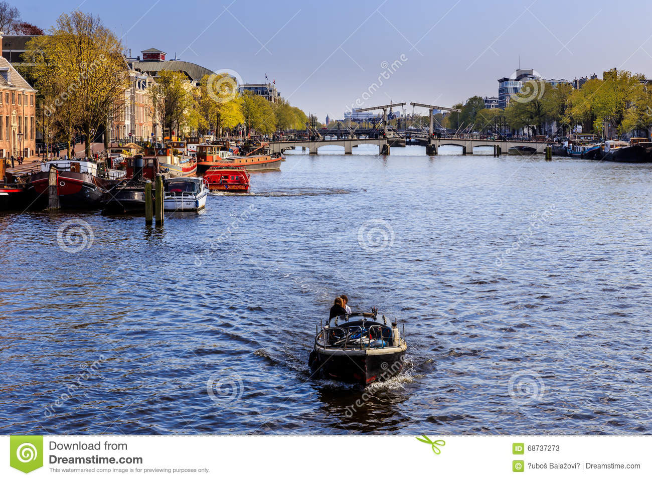 Boat On The Canal In Amsterdam Editorial Stock Photo Image 68737273