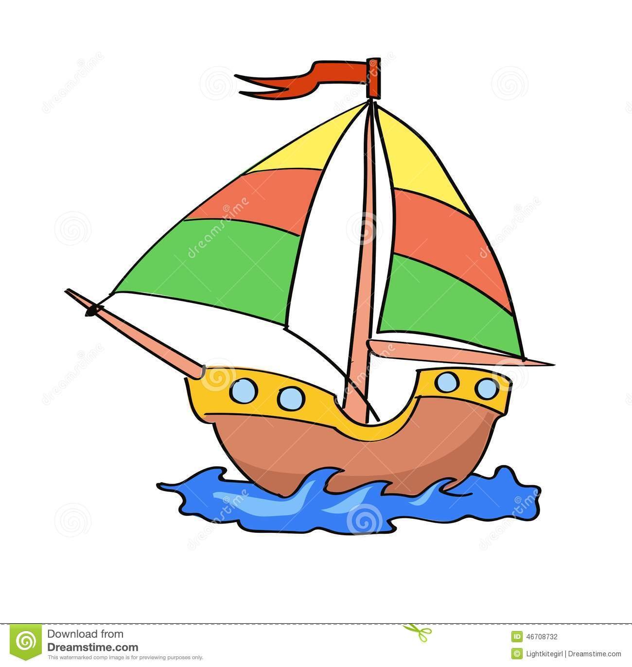 Boat Cartoon Colorful On A White Background Stock Vector ...