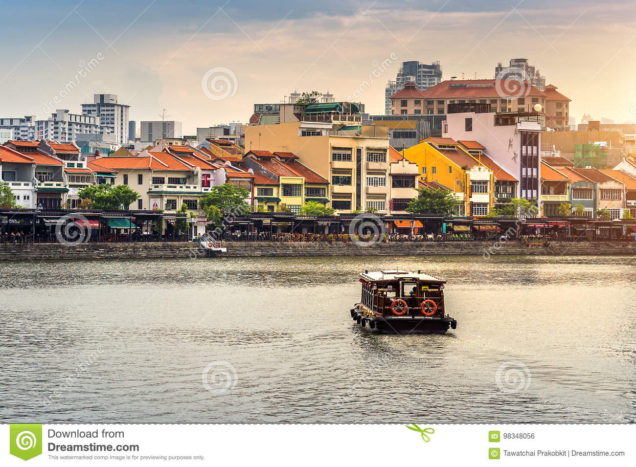 Boat and Cityscape in Singapore.