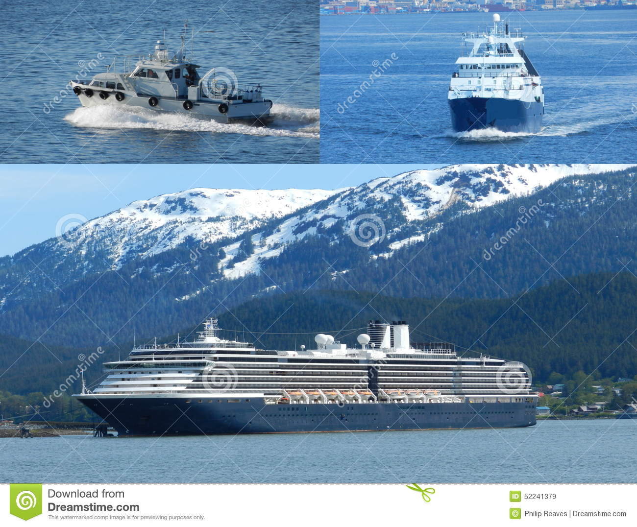 Boat collage editorial stock image image 52241379 for Alaska out of state fishing license