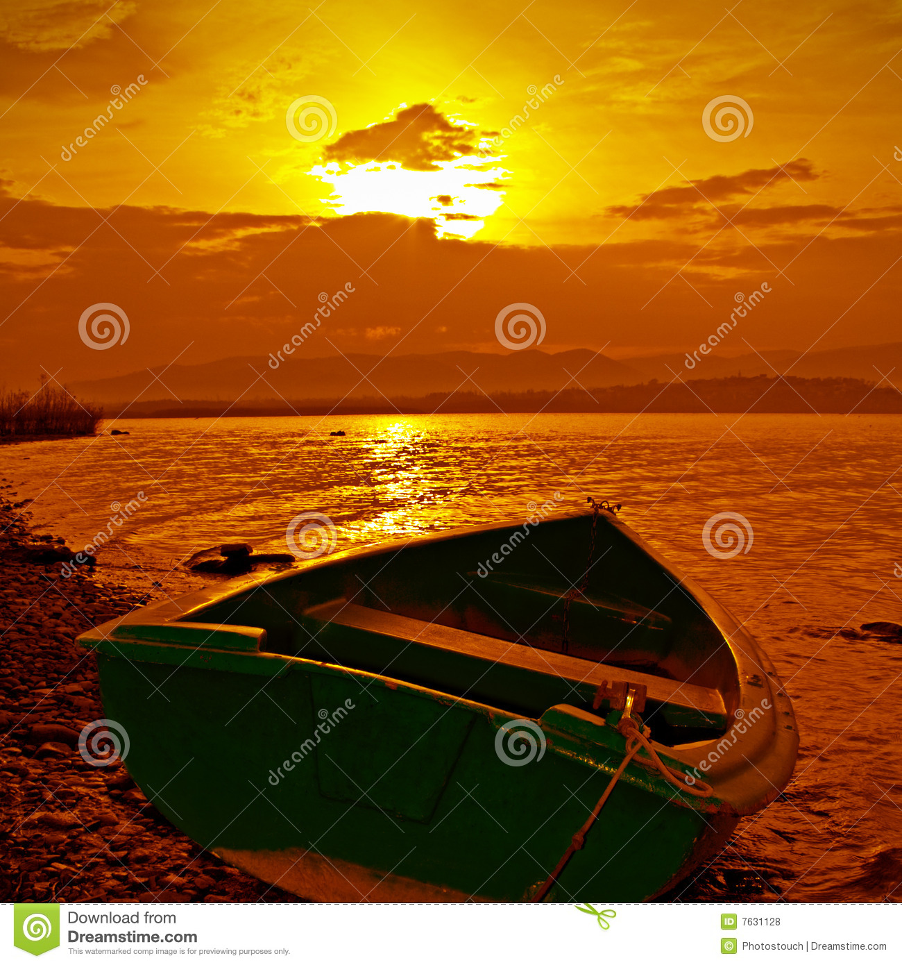 Boat and color sunset