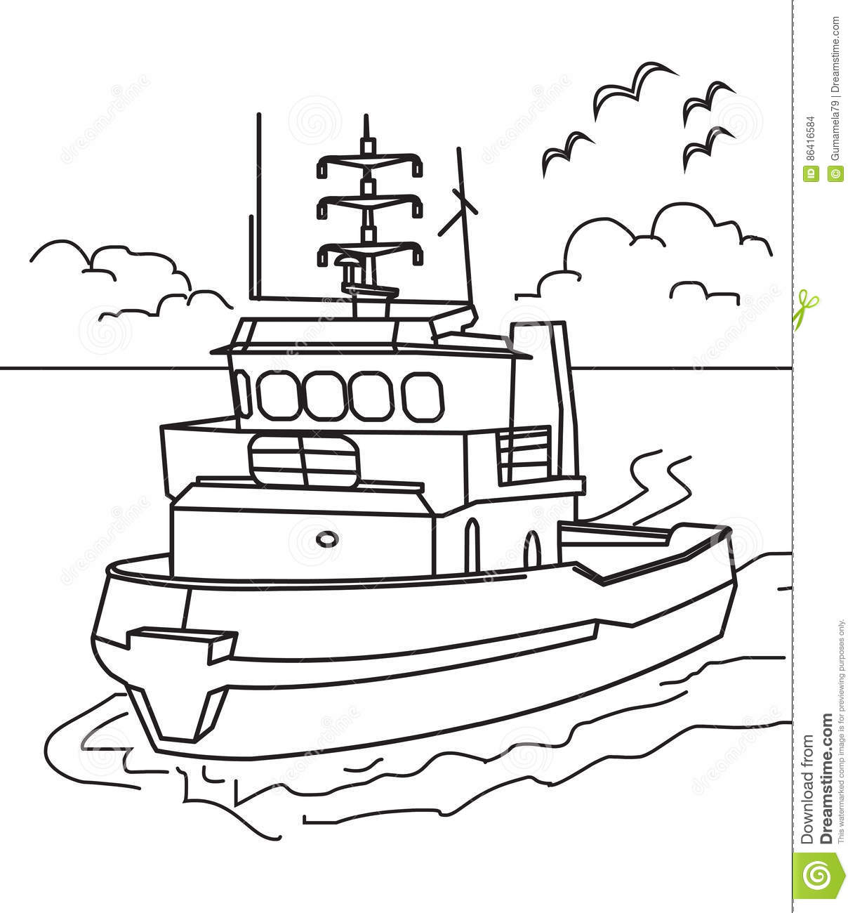 Boat coloring page stock illustration. Illustration of boat - 86416584