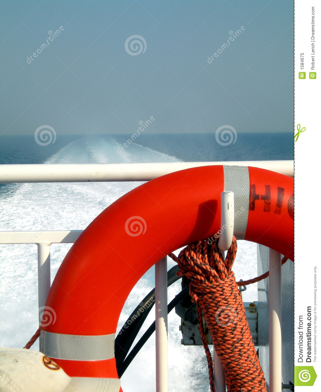 boat deck with life saver stock image image of railing 1584675
