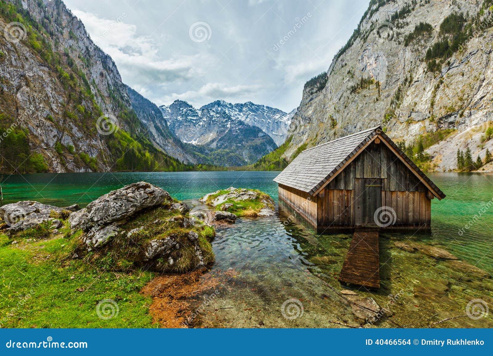 Boat Dock On Obersee Lake. Bavaria, Germany Stock Photo - Image: 40466564