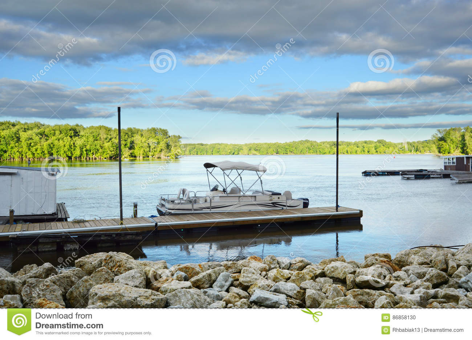 Download Boat Docked on Lake stock photo. Image of leisure, lake - 86858130