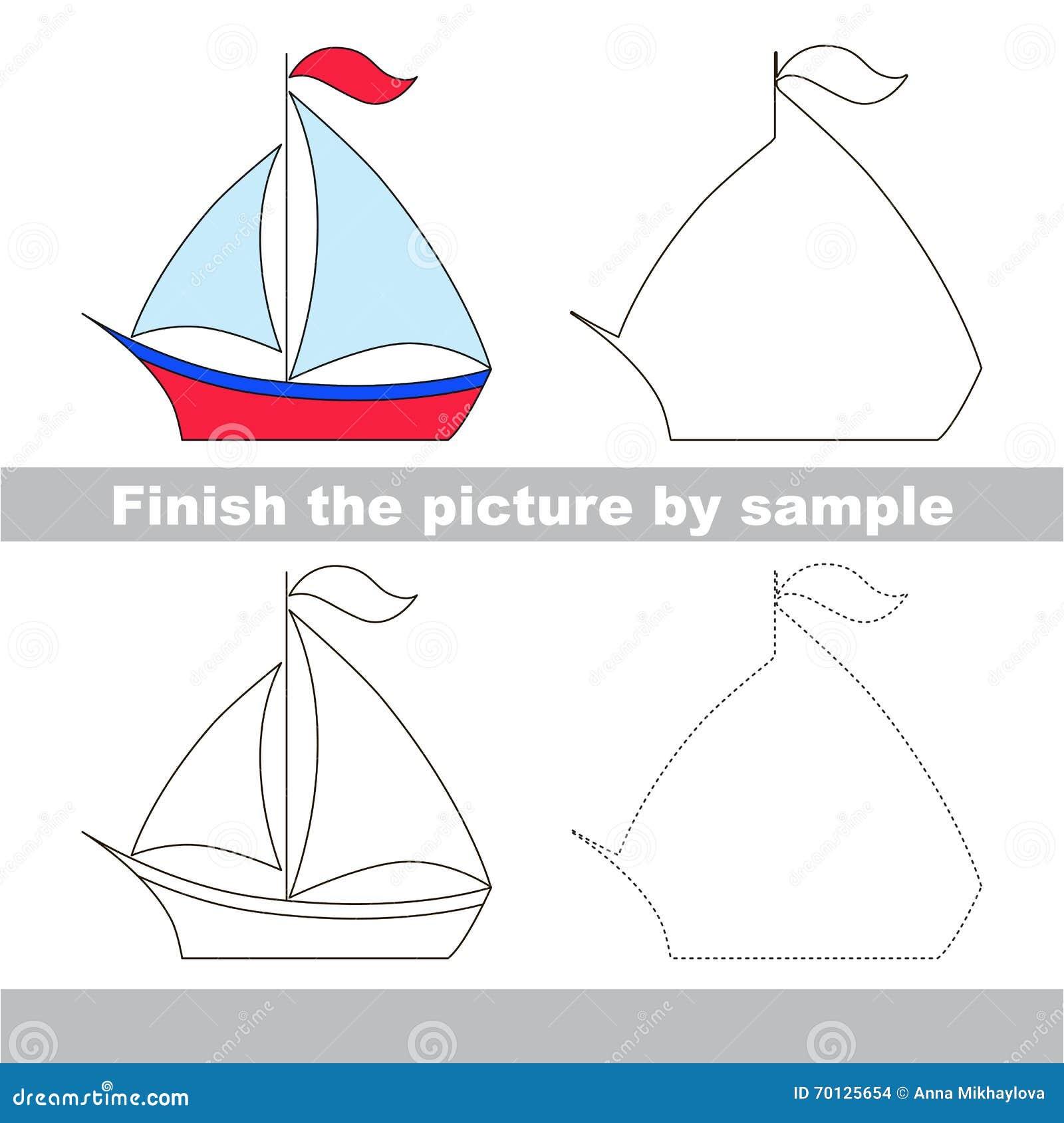 Boat Drawing Worksheet Stock Vector Illustration Of Educational