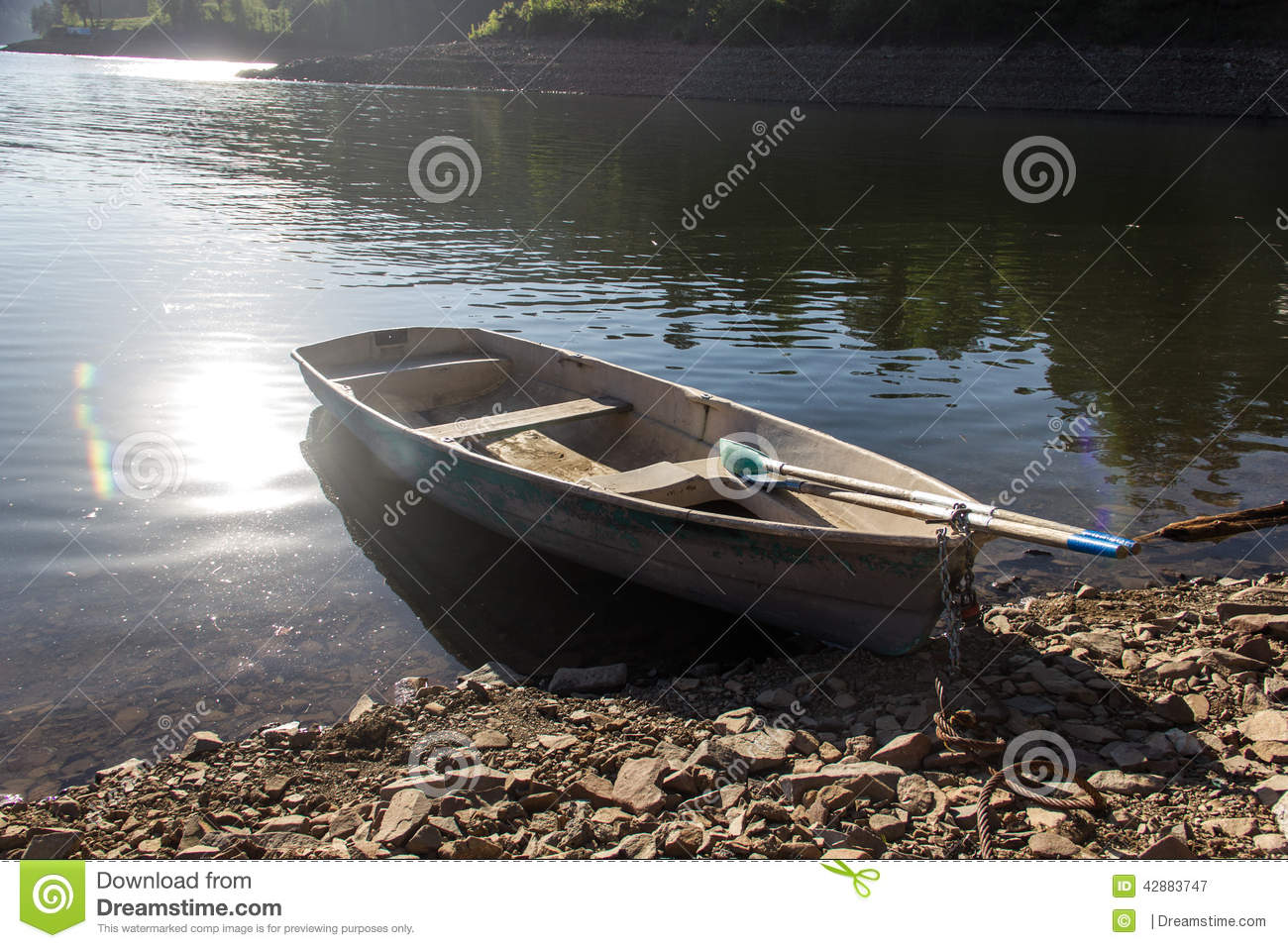 Boat on the Enisey river
