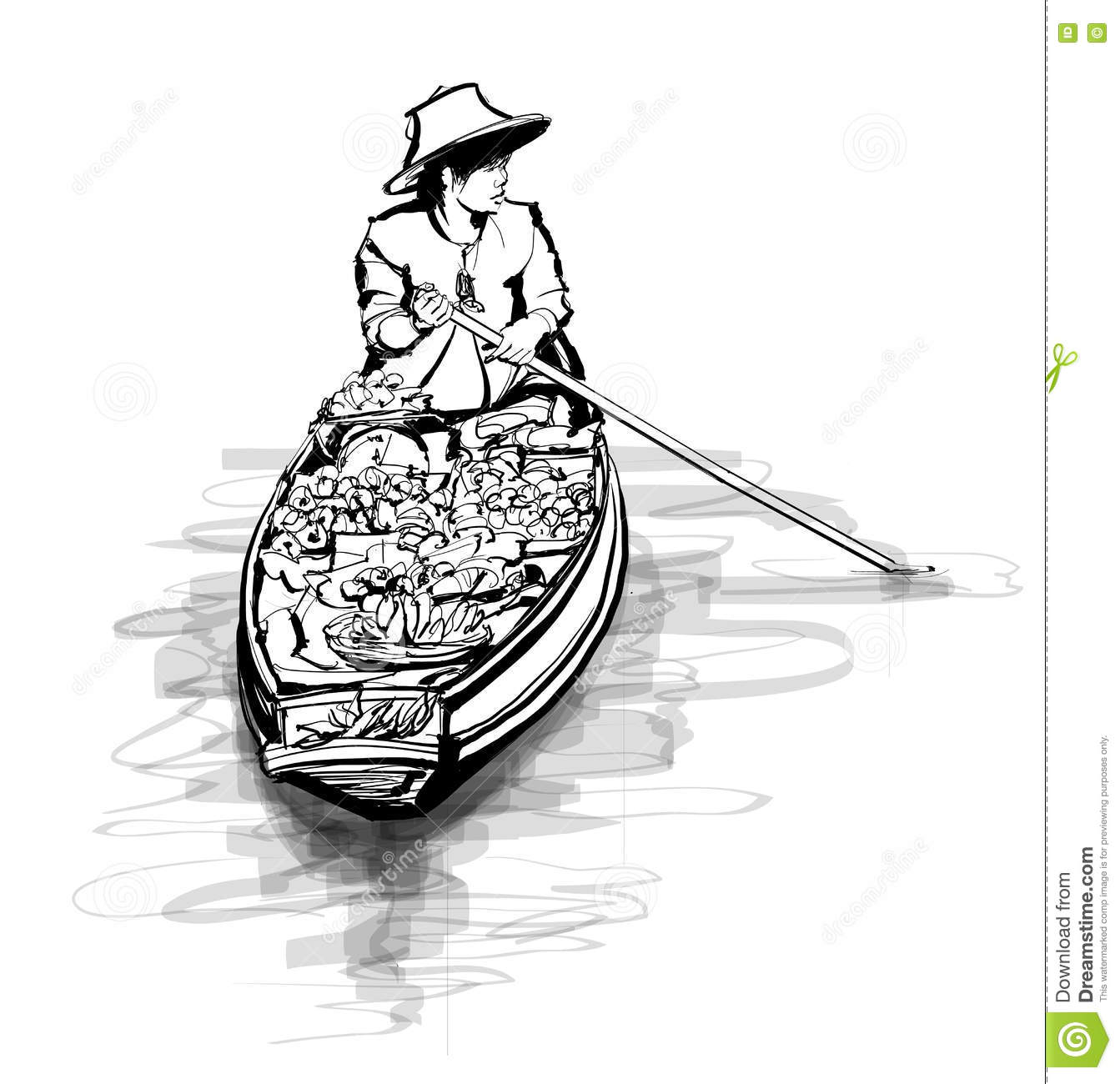 Boat In A Floating Market In Thailand Stock Vector - Image ...